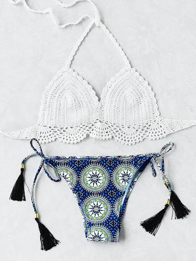 Sets de bikini de croché de cordón con fleco con estampado