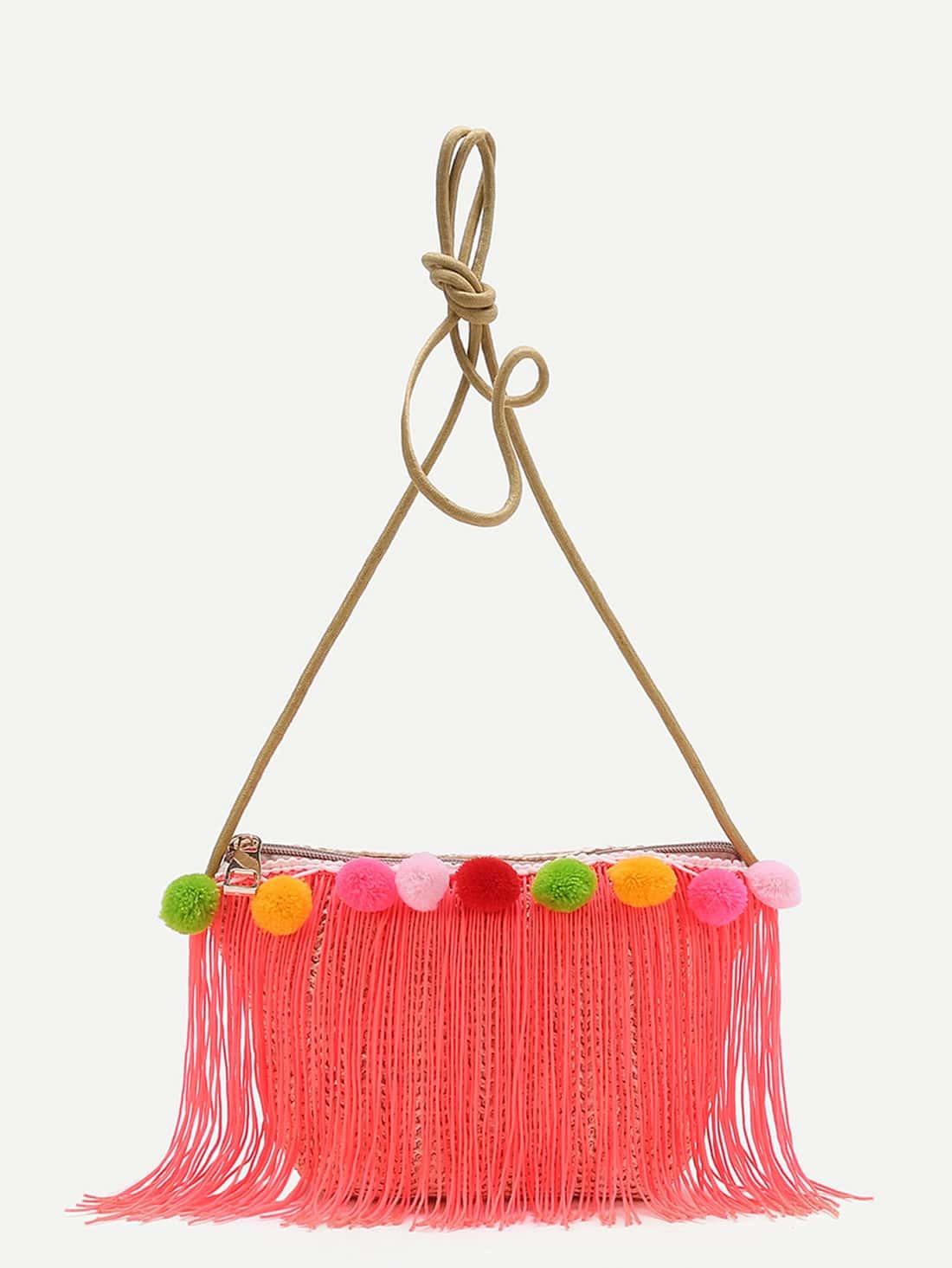 Фото Pom Pom Embellished Straw Crossbody Bag With Fringe. Купить с доставкой