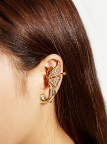 Rhinestone Decorated Butterfly Shaped Ear Cuff 1PC