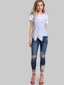 corset tie up tee shirt white blue sheinsheinside