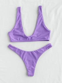 Plunge Neckline Sexy Bikini Set