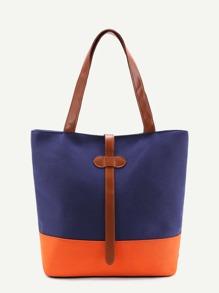 Color Block PU Tote Bag