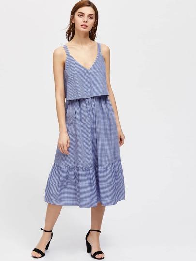 Thick Strap Two Layer Ruffle Hem Gingham Dress