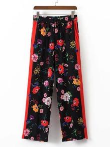 Pantalons imprimés fleuris à larges jambes