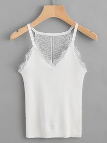 Contrast Eyelash Lace Trim Ribbed Hollow Out Top