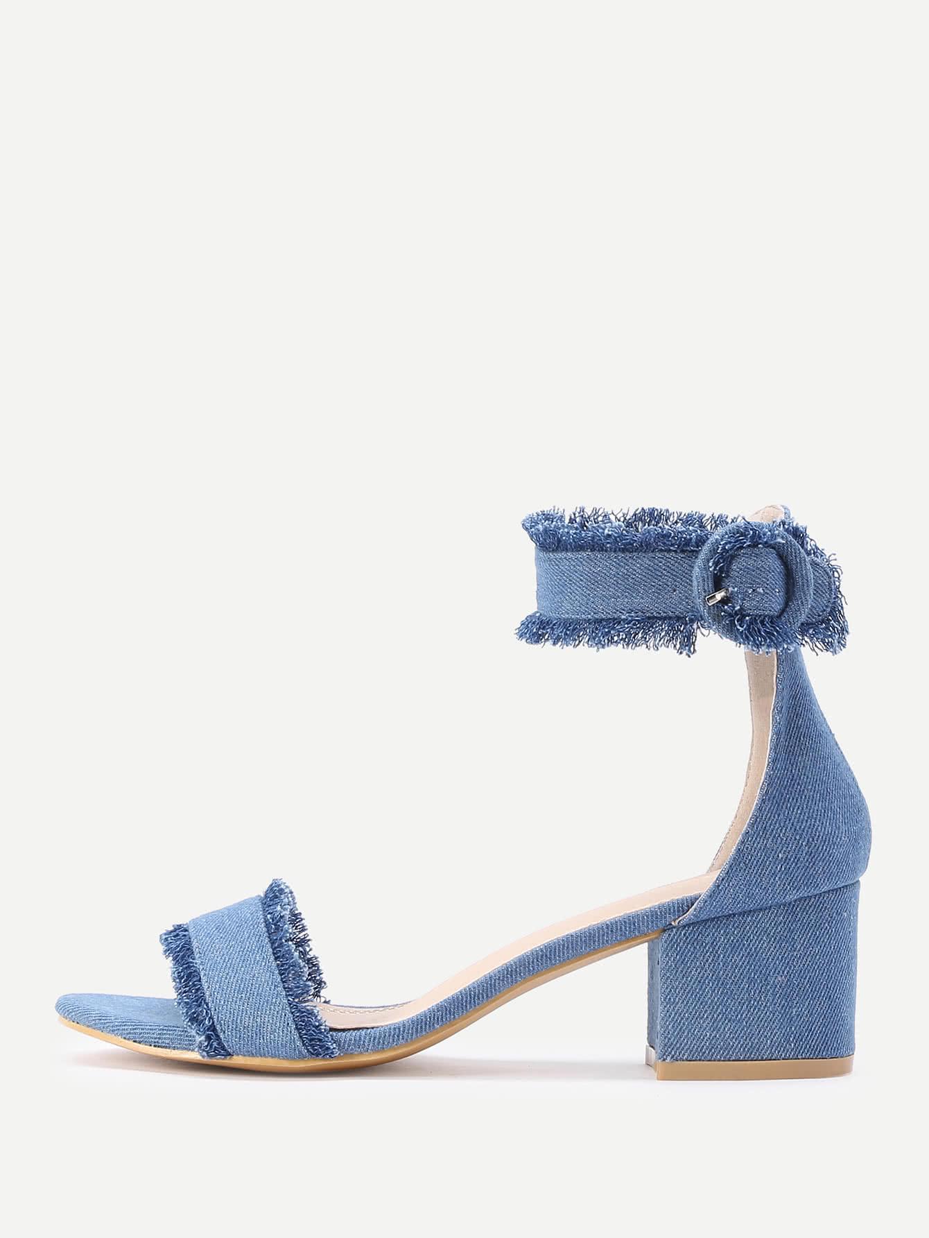 Купить Модные джинсовые сандалии на каблуках, null, SheIn