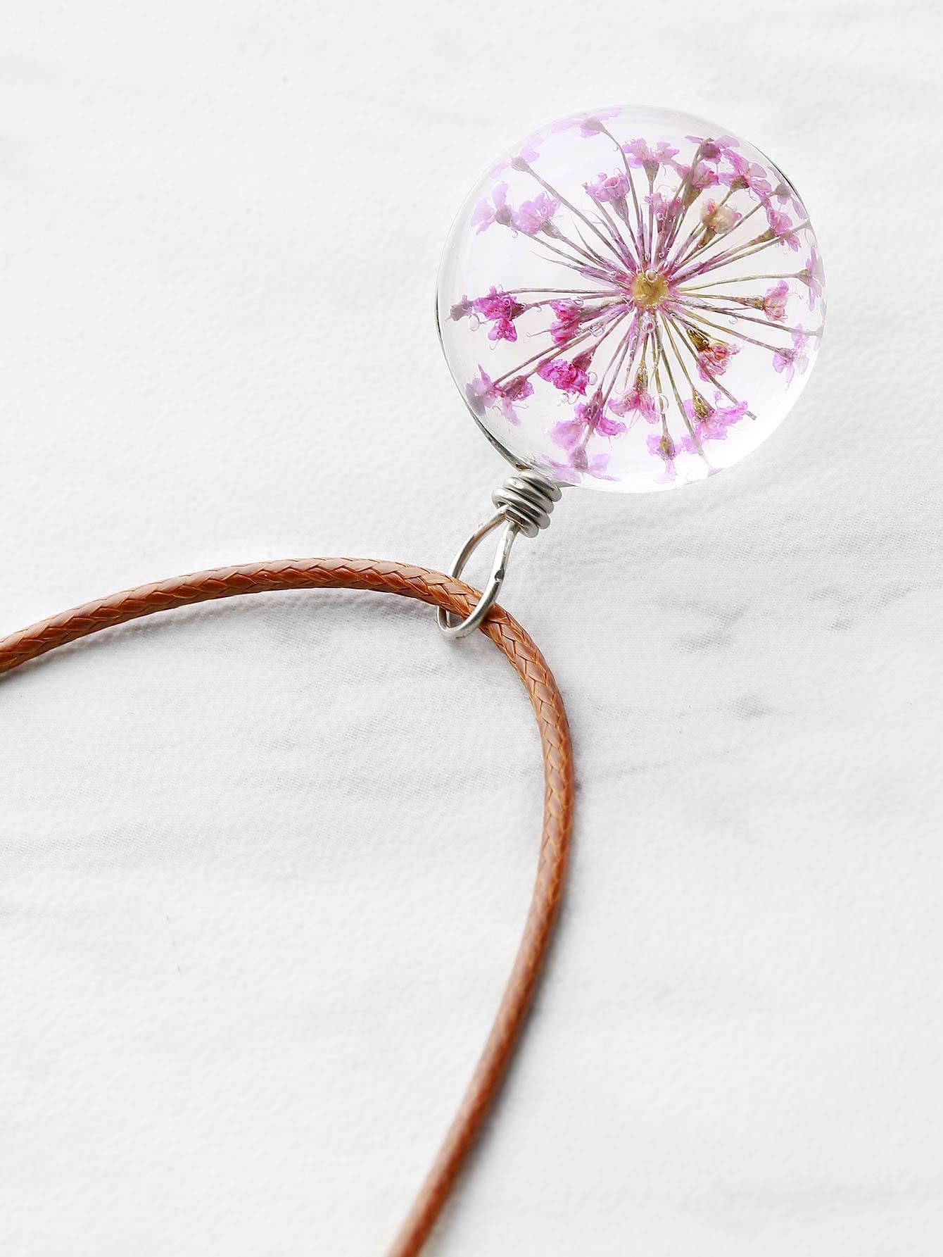 Фото Glass Flower Ball Shaped Pendant Necklace. Купить с доставкой