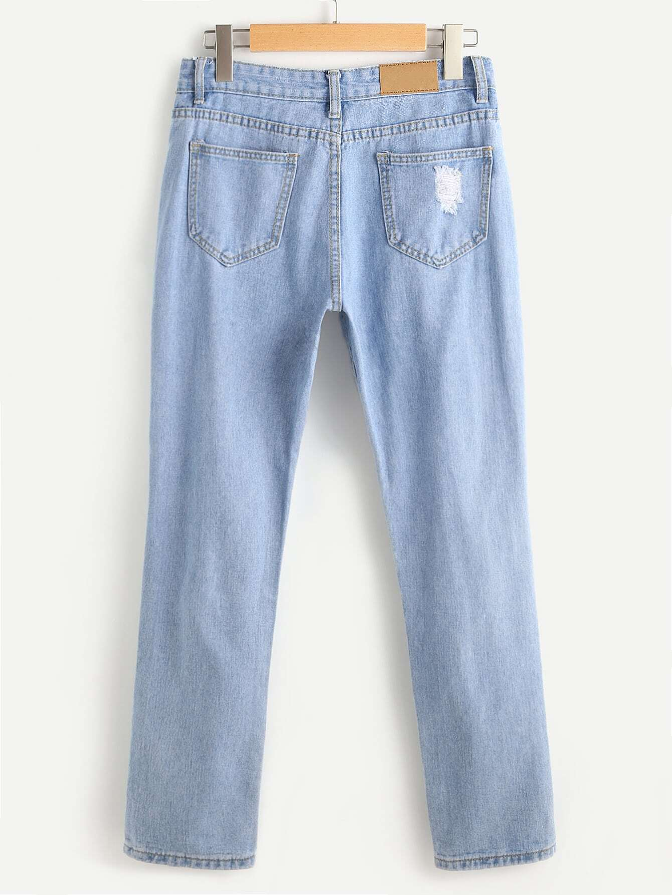 Ripped embroidered cropped jeans shein sheinside