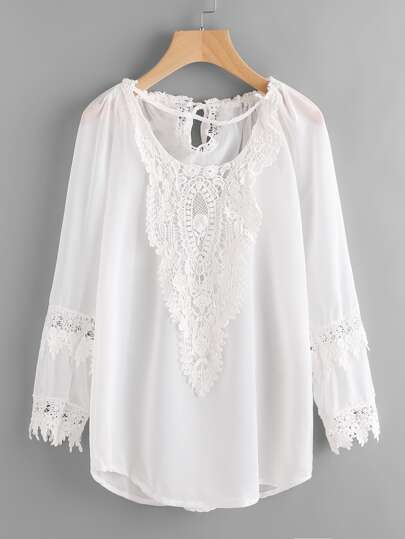 Crochet Lace Insert Tie Back Chiffon Cover Up