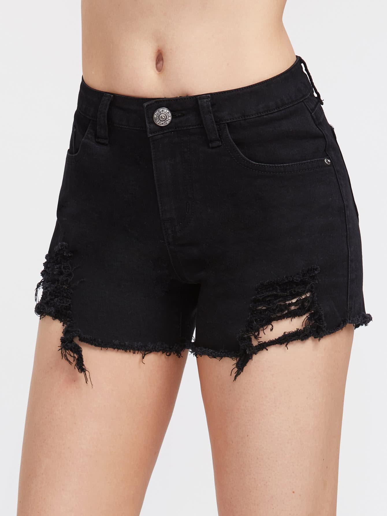 5 Pocket Distressed Denim Shorts shorts170523450
