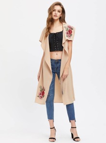 Embroidered Flower Applique Self Belt Waterfall Vest