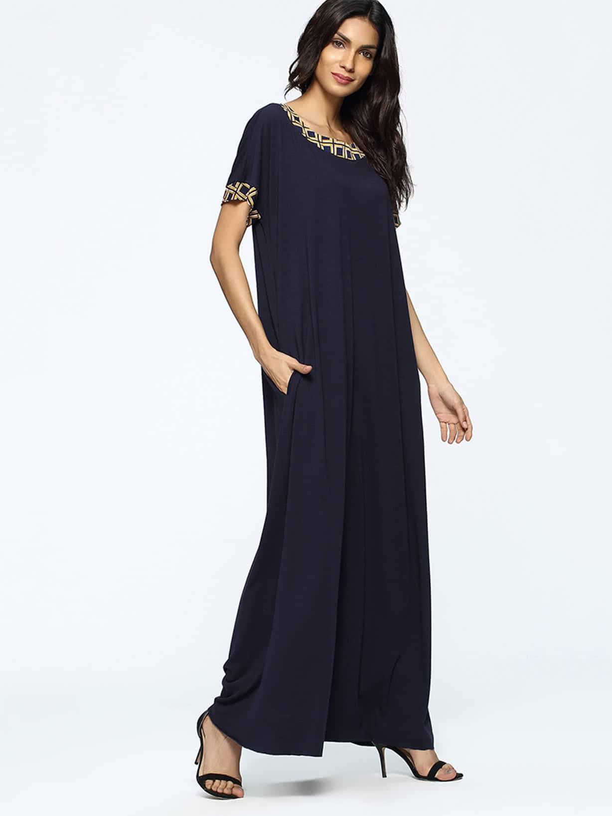 Фото Contrast Geo Panel Full Length Dress. Купить с доставкой