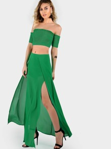 Shirring Bardot Crop & Matching Skirt Set GREEN