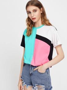 Drop Shoulder Cuffed Sleeve Cut And Sew T-shirt