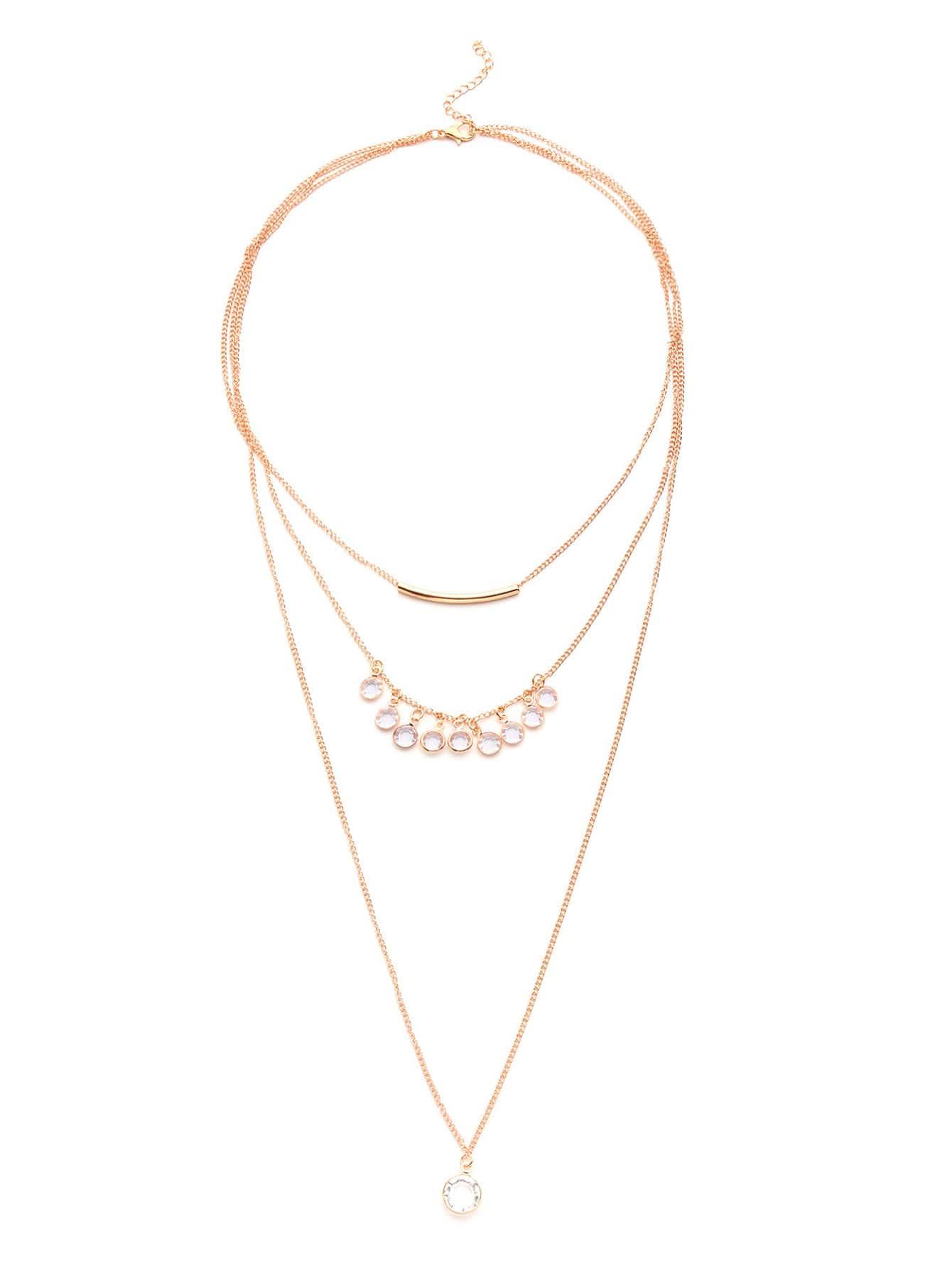 Фото Rhinestone Embellished Layered Chain Necklace. Купить с доставкой
