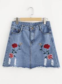 Symmetric Embroidery Ripped Frayed Hem Denim Skirt