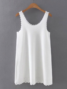Scalloped Trim Tank Dress