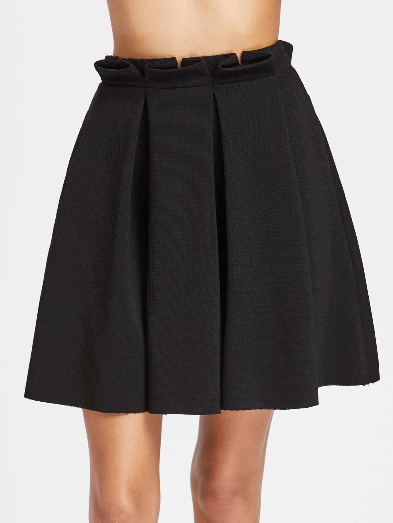 Фото Frill Waist Box Pleated Textured Skirt. Купить с доставкой