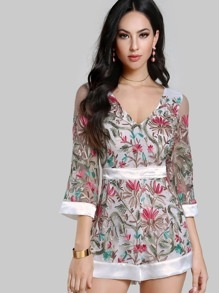 Floral Embroidered Sheer Romper OFF WHITE