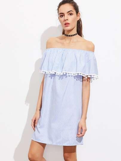 Flounce Layered Neckline Pinstripe Pom Pom Trim Dress