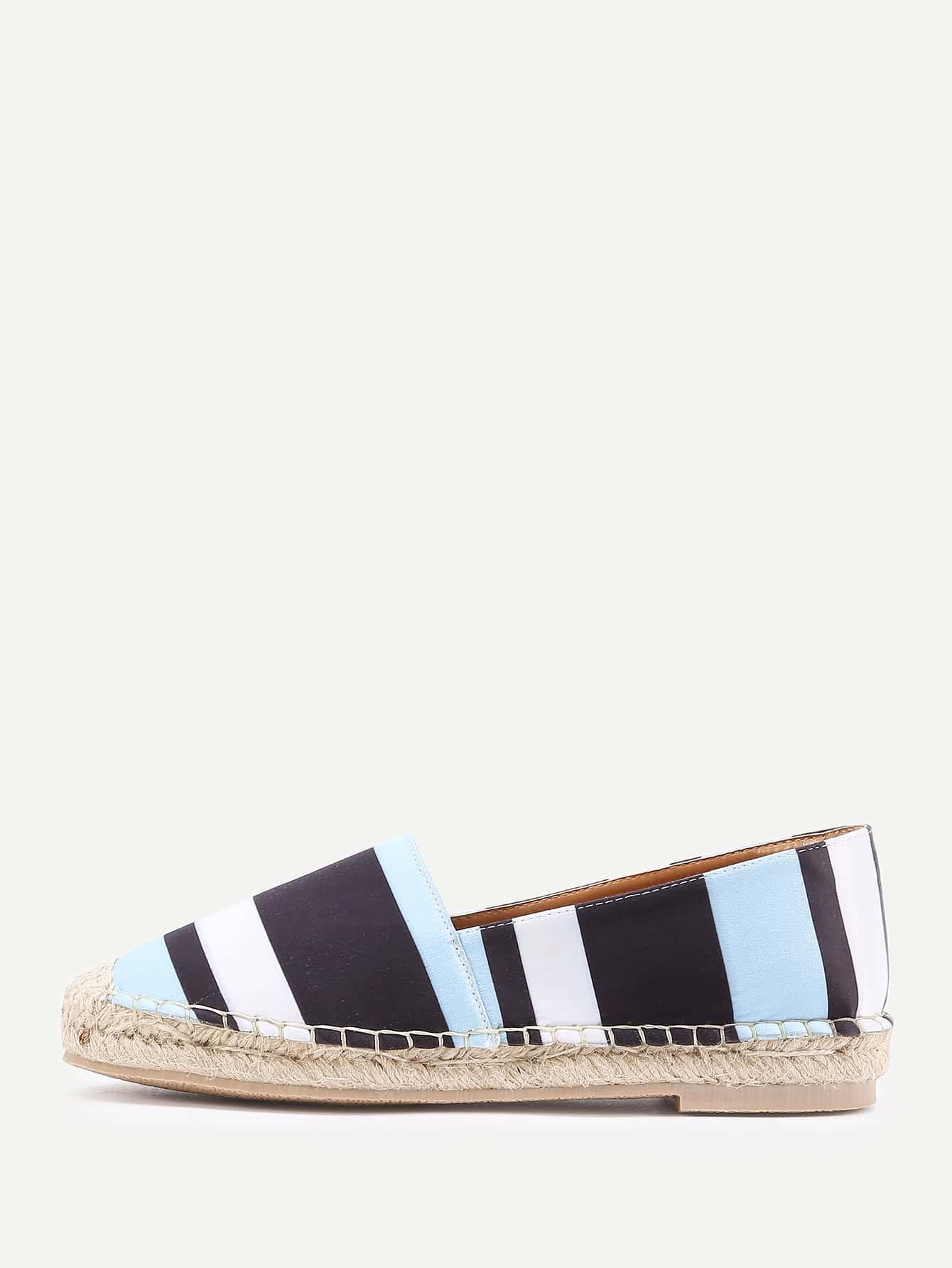 Фото Block Striped Print Espadrille Flats. Купить с доставкой