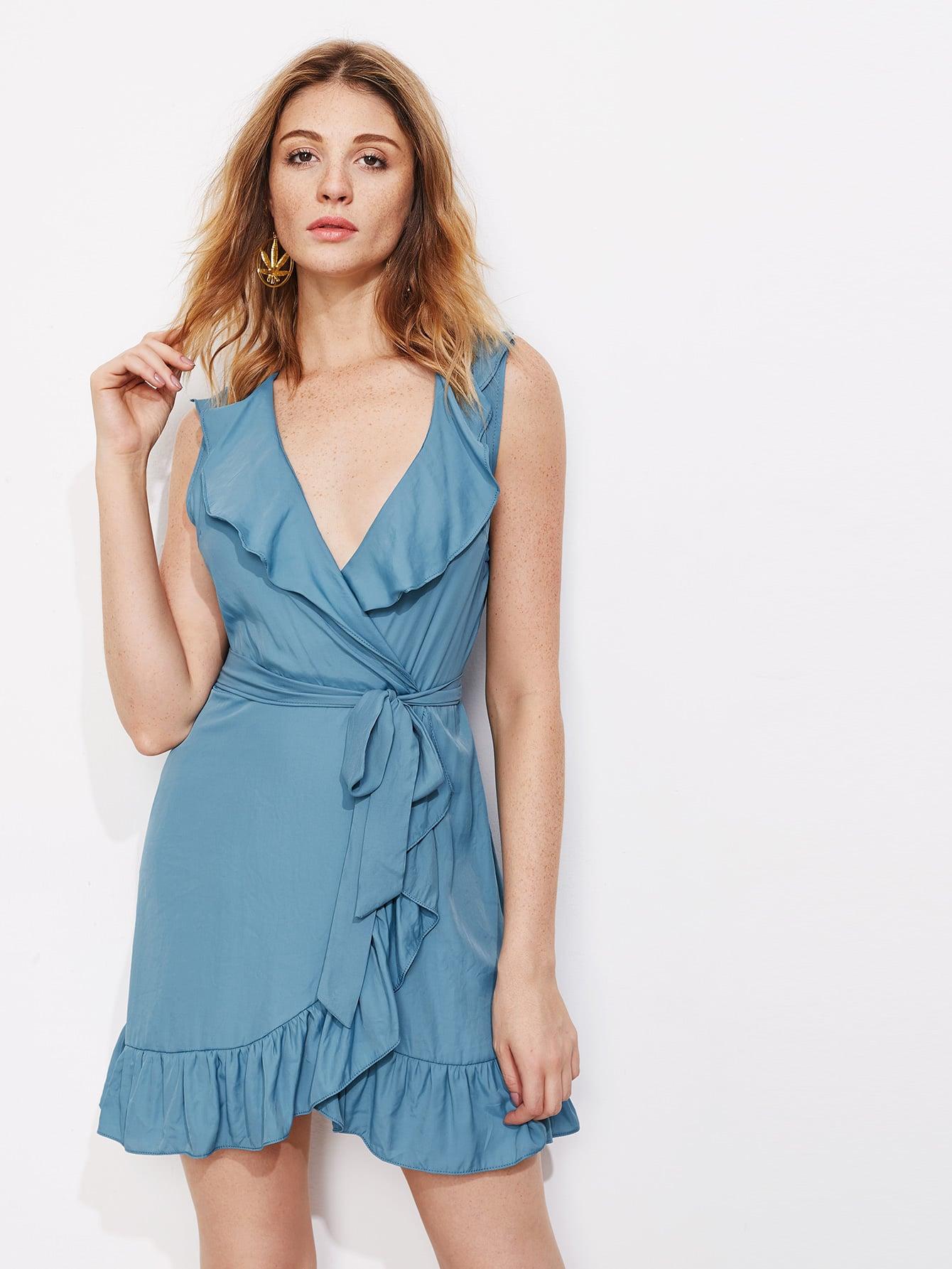 Фото Ruffle Trim Wrap Dress. Купить с доставкой