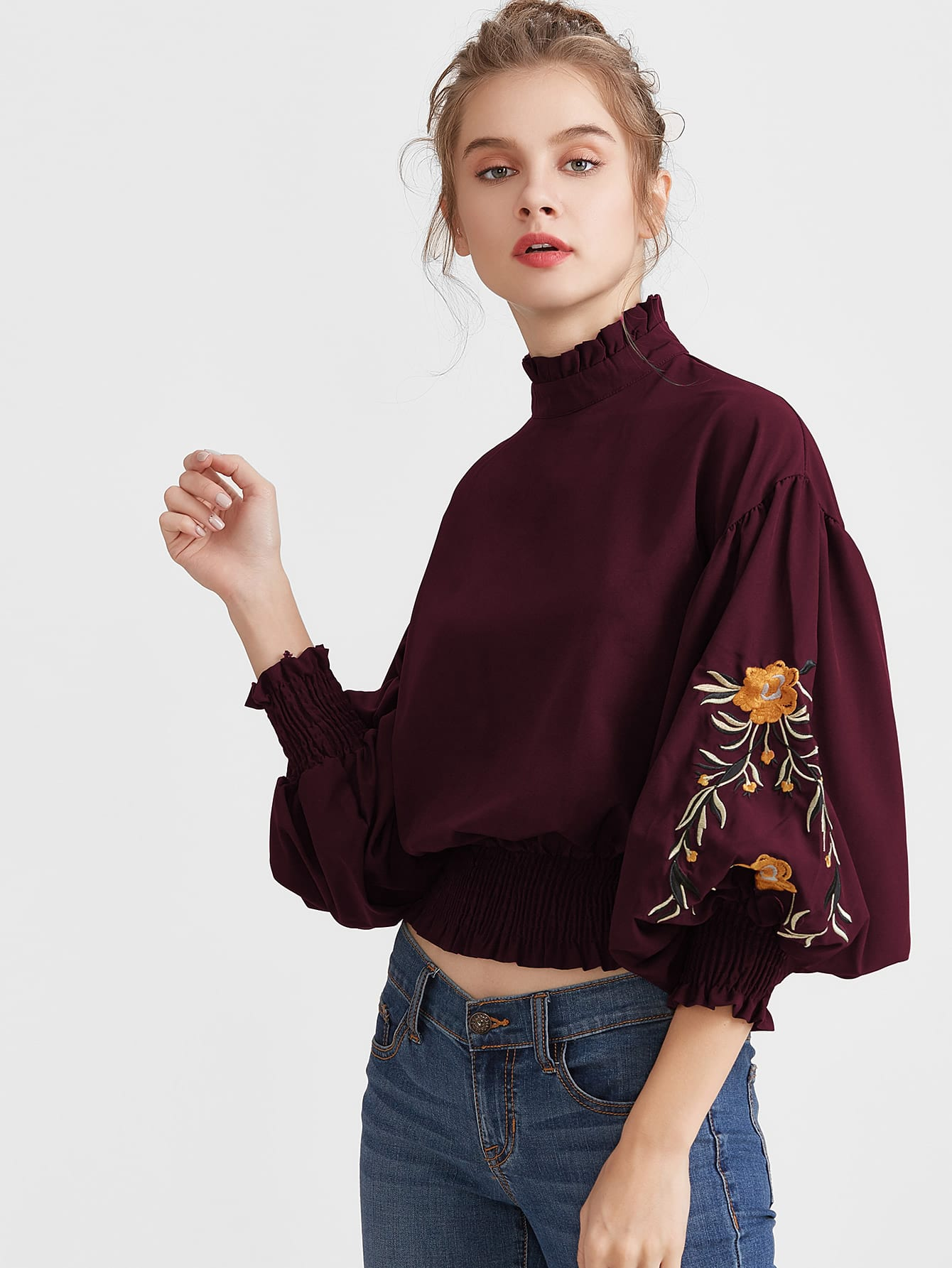 Embroidery Lantern Sleeve Shirred Hem Blouse tyga 2018 05 14t20 00