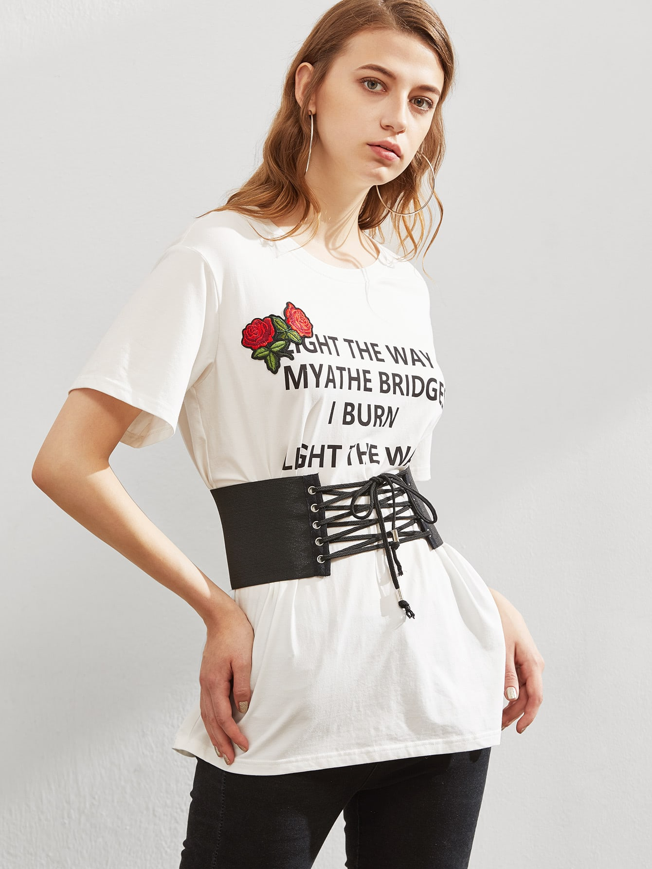 Embroidered rose applique corset belt graphic tee shein