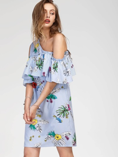 Oblique Shoulder Layered Frill Tropical Print Dress