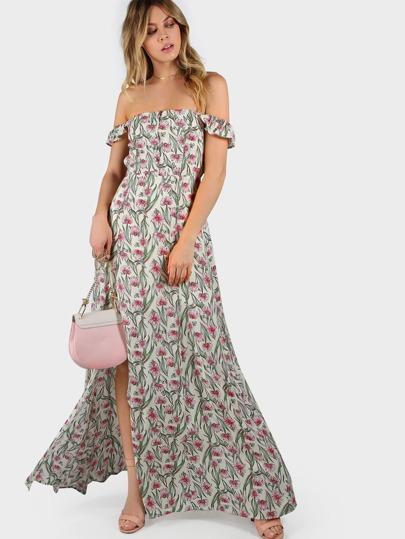 Vestido con estampado de flor con volantes con hombros al aire