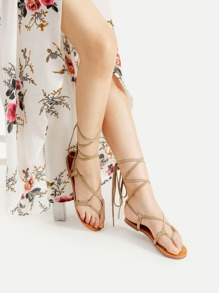 Sandales plat croisé