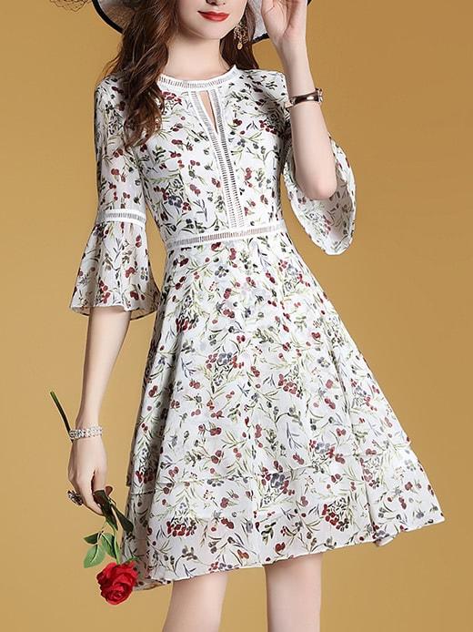 Фото Bell Sleeve Mesh Floral Dress. Купить с доставкой