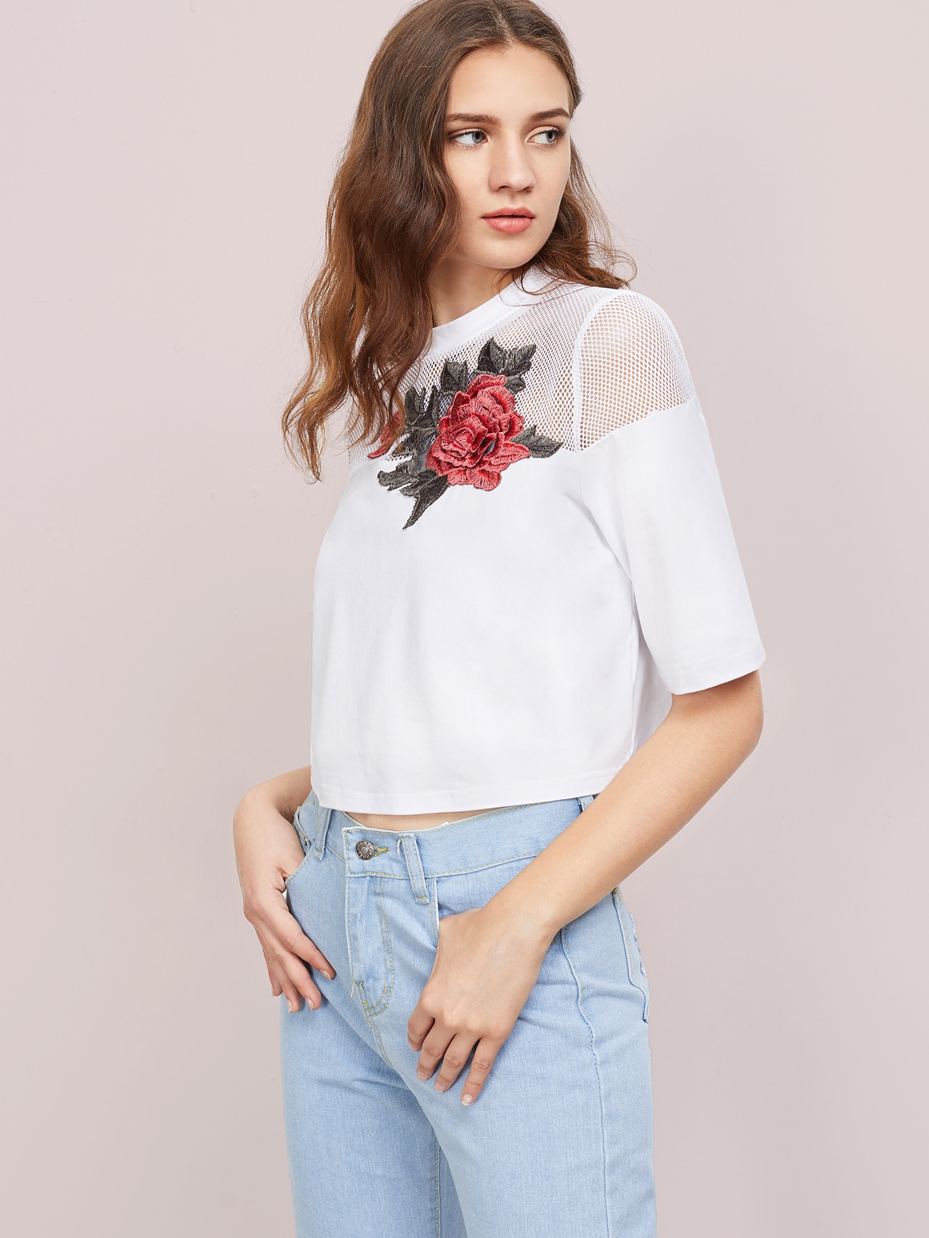 Фото Fishnet Yoke 3D Rose Patch T-shirt. Купить с доставкой