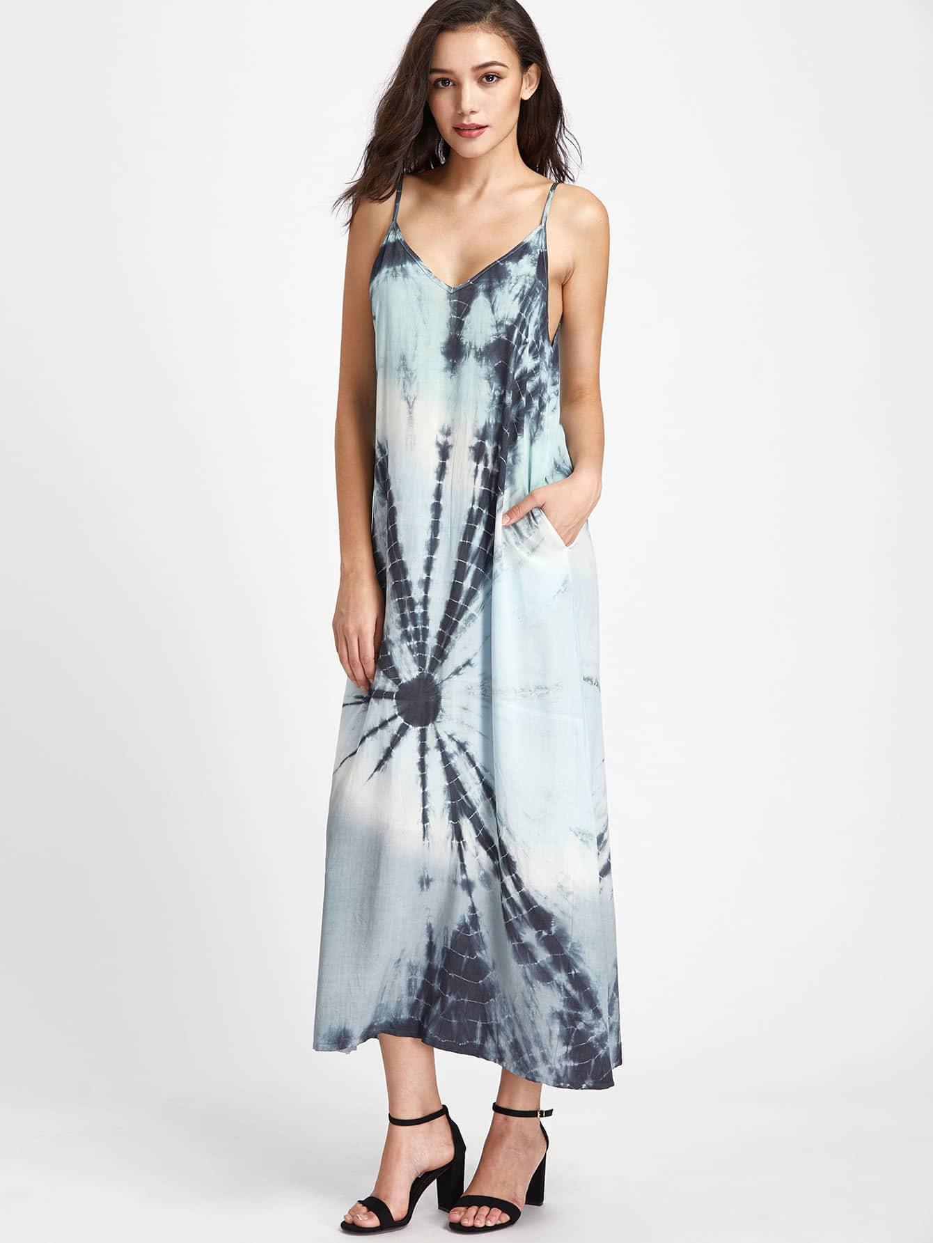 Фото Double V Neck Side Pocket Tie Dye Cami Dress. Купить с доставкой