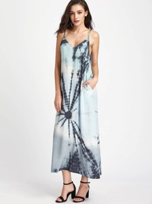 Double V Neck Side Pocket Tie Dye Cami Dress