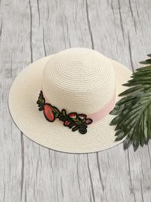 Cappello in paglia con applique di fiore ricamato