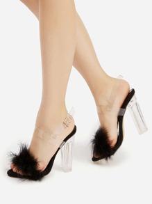 Sandalias de tacón cuadrado con piel sintética