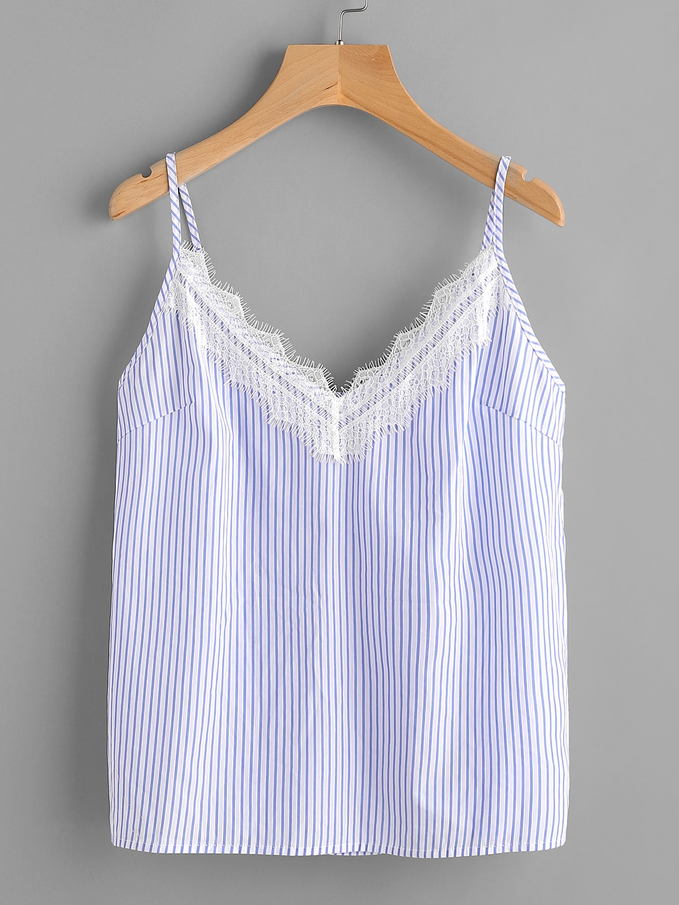 Eyelash Lace Trim Striped Cami Top maison jules 0292 womens gray striped lace trim pullover top shirt xs bhfo