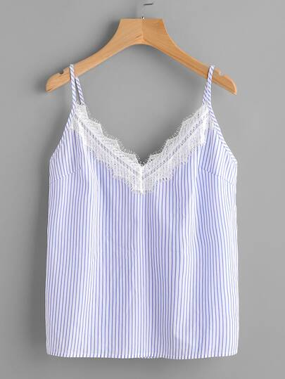 Eyelash Lace Trim Striped Cami Top