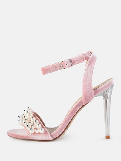 Velvet Pearl Stiletto Heels BLUSH