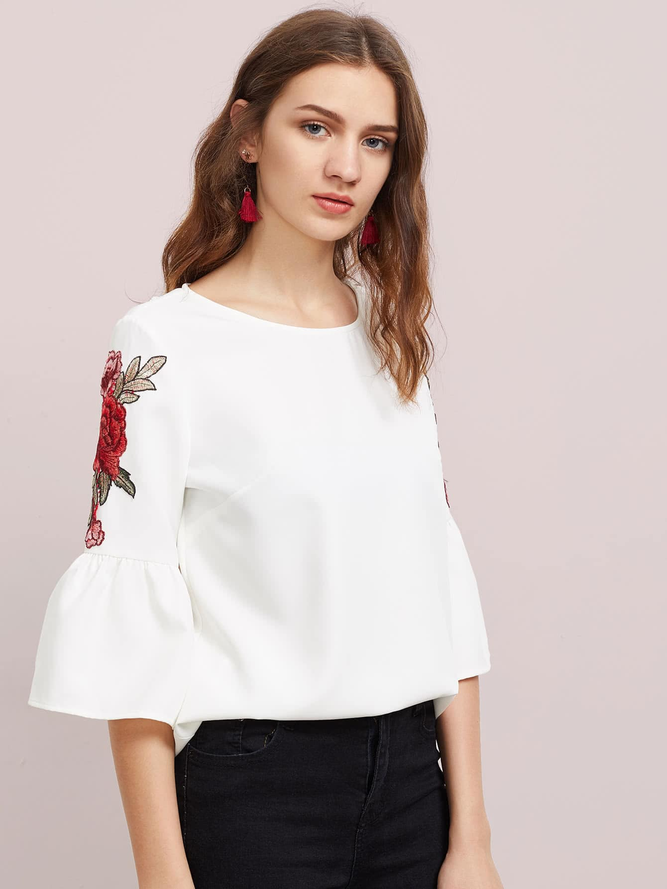 Embroidered Flower Patch Trumpet Sleeve Top flower embroidered trumpet sleeve top