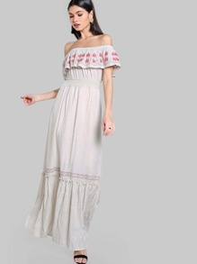 Off Shoulder Stiched Maxi Dress CREAM