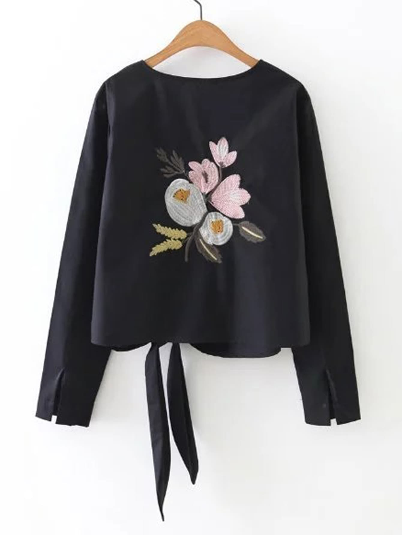 Knot Front Flower Embroidery Top embroidery applique knot back fitted