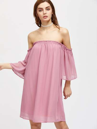 Frill Off Shoulder Bell Sleeve Dress pictures