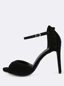 Ankle Strap Faux Suede Frill Heels BLACK