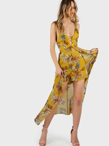 Floral High Low Cross Back Romper MUSTARD