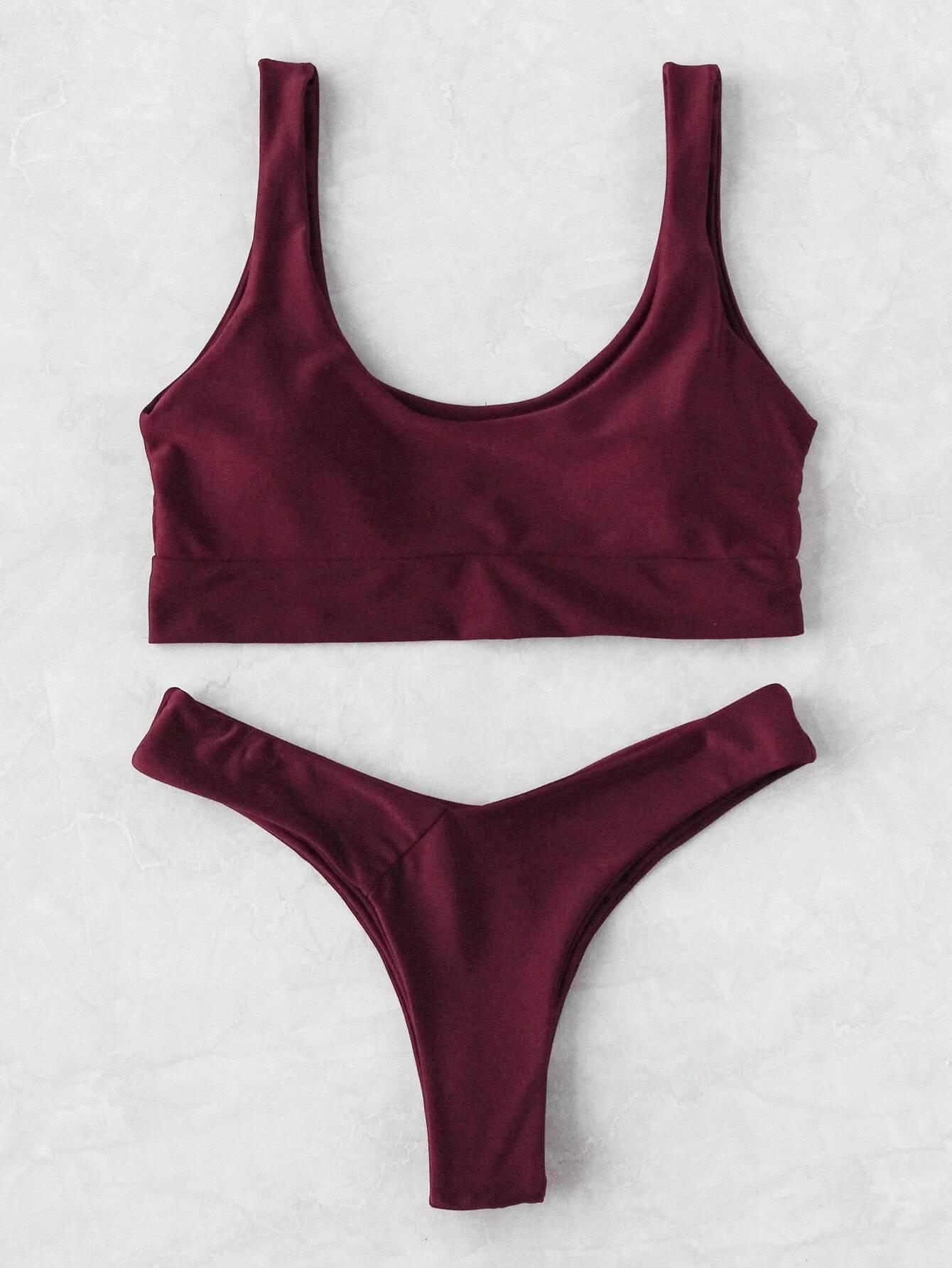 Plain Scoop Neck Bikini Set