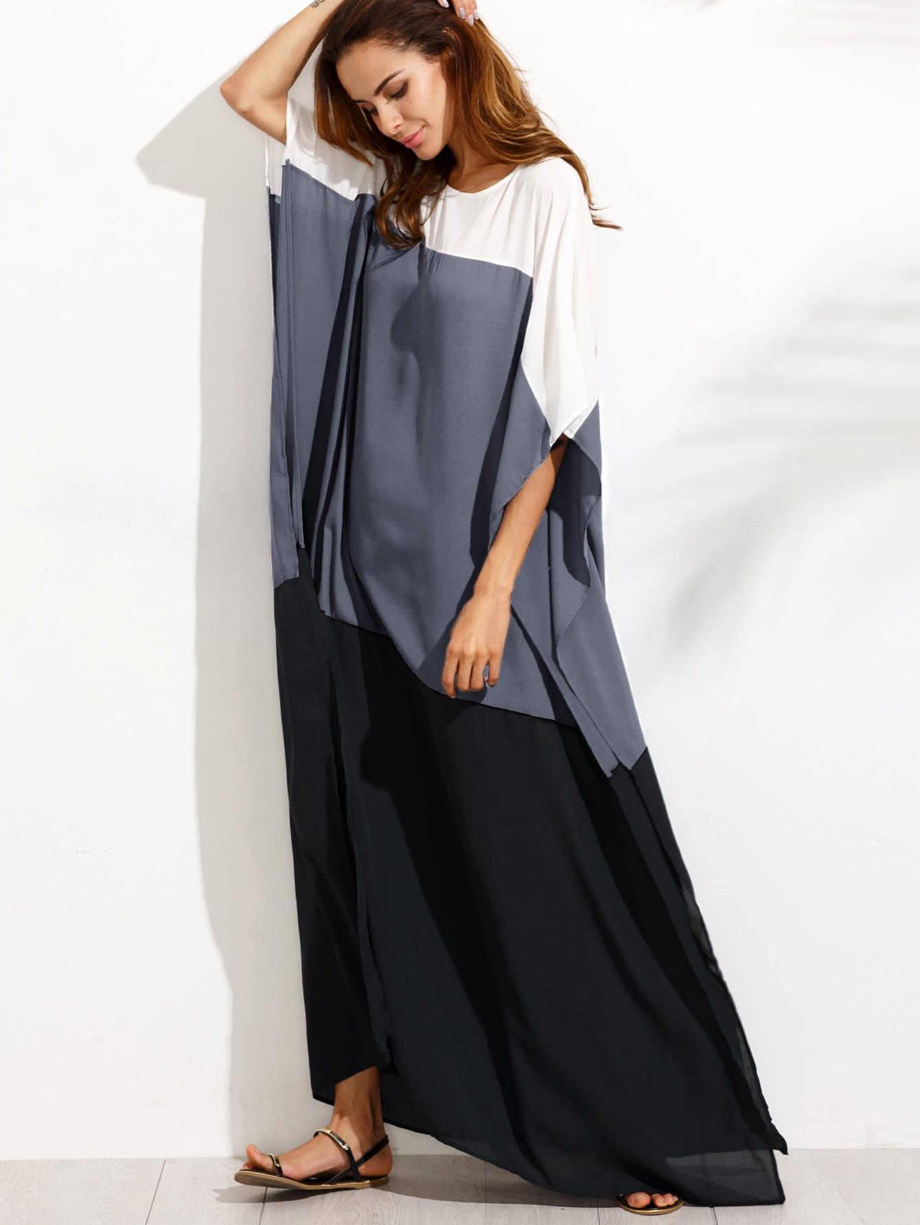 Фото Color Block Slit Side Chiffon Poncho Dress. Купить с доставкой