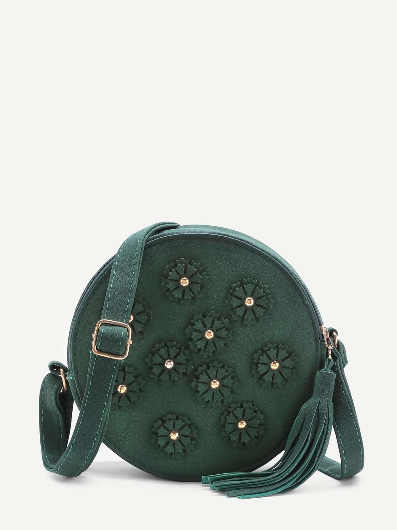 Flower Embellished Round Shoulder Bag With Tassel