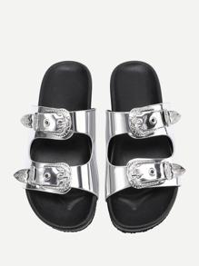 Sandales en PU avec double boucles